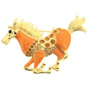 Orange Enamel Mustang Pin Brooch