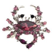 Amethyst Purple Crab Pin Brooch