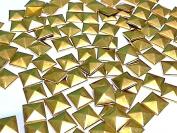 100 Metal 7mm Gold HOT FIX Pyramid Studs Stick on Embellishments, Punk, Goth, DIY Fashion