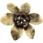 Vintage Style Brown Flower Pin Brooch