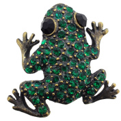 Vintage Style Emerald Green Crystal Frog Pin Brooch