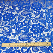 Venice Embroidered Royal Blue Lace Fabric for Wedding Lace Bridal Elegant Dress Fabric by the Yard
