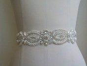 Wedding Belt Applique Bridal Belt, Sash Belt Applique, Crystal Rhinestone & Off White Pearls