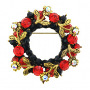 Vintage style Red Crystal Wreath Pin And Pendant