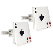 Silver Aces And King Poker Game Cufflinks