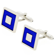 Blue And Silver Square Cufflinks Silver Cuff-links