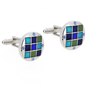 Light Sapphire Blue Grid Cufflinks