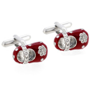 Red Mary Jane Flat Shoes Cufflinks