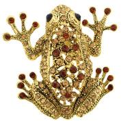 Vintage Style Golden Topaz Frog Pin Brooch
