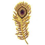 Amethyst Purple Peacock Feather Pin Brooch