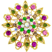 Multicolor Flower Wedding Crystal Pin Brooch and Pendant