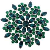 Green Crystal Flower Wedding Pin Brooch