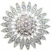 Silver Wedding Sunflower Crystal Brooch Pin