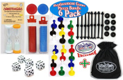 """Universal Game Pieces Replacement Set with Exclusive """"Matty's Toy Stop"""" Cinch Storage Bag - 6 Pack"""