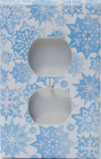 Snow Flakes Outlet Switch Plate Cover in Ice Blue with Glitter/ Snowflake Wall Decor