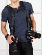 Quick Release Double Dual Camera Shoulder Strap Harness,Konsait Adjustable Dual Camera sling Camera Neck Strap for Canon Nikon Olympus Pentax Panasonic Sony DSLR SLR - Blac
