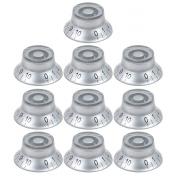 10pcs Top Hat Guitar Speed Knob Volume Tone Control Knob 6mm Silver Bell Knob