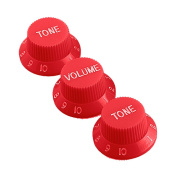 Kmise MI0069 Replacment Strat Covers & Knobs Set, Red