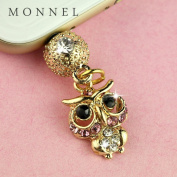 ip701b Cute Little Crystal OWL Anti Dust Charm Plug for iPhone 6 5 5s