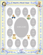 11 x 14 Personalised Blue Baby Boy Ribbon Yellow Border My First Year Photo Mat with Teddy Bear Illustration