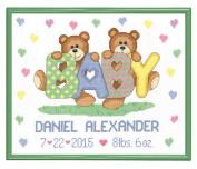 Janlynn Teddy Baby Birth Announcement Cross Stitch Kit