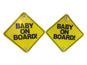 Baby on Board - 2 Pack - Large 15cm x 15cm Yellow Car Signs with 2 Attached Suction Cups.