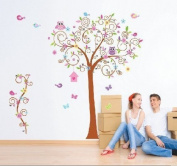 BestGrew® Super Large 180cm x 170cm Colourful Owl Big Bending Tree Wall Stickers Removable Wall Decal Sticker,Super for Girls and Boys Nursery Baby Room Children's Bedroom