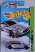 HOT WHEELS HW WORKSHIP SILVER TESLA MODELS NEW 2015 SHOWDOWN SCAN & RACE! 217/250