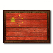 China Flag Textured National Country Souvenir Gift Ideas Foreign Country Collection Custom Made Frame Decoration Distressed Rustic Designed Housewarming