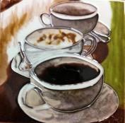 Continental Art Centre BD-2236 20cm by 20cm Three Coffee Cups Ceramic Art Tile