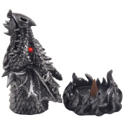 Magical Fire Breathing Dragon Head Incense Burner Holder for Scented Cones in Mythical Statues & Sculptures As Gothic Style Mediaeval Home Decor for Aromatherapy or Fantasy Gifts