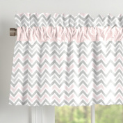 Pink and Grey Chevron Window Valance with Accent Trim