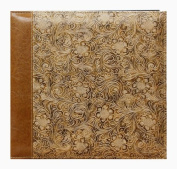 Pioneer 30cm by 30cm Postbound Embossed Sewn Leatherette Cover Memory Book, Tan