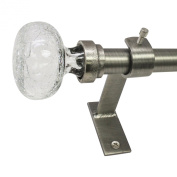 Beme International North Branch 1.9cm Crackle Glass Knob Telescoping Drapery Rod Set, 72 to 370cm , Pewter