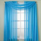 Monagifts Bright Turquoise Scarf Voile Window Panel Solid Sheer Valance Curtains