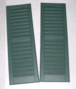 Louvred Shed or Playhouse Shutters Green 15cm X 50cm 1 Pair