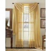 MONAGIFTS 2 PANELS GOLD Sheer Voile Window Panel curtains 150cm WIDTH X 210cm LENGTH EACH PANEL