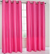 TWO panels BLACKOUT HOT PINK grommet FAUX SILK window curtain lined ENERGY SAVING 38 WIDE X 210cm LENGTH EACH PANEL BLACK OUT TWO PANELS HEAVY THICK panels FOAM