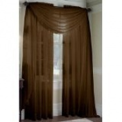 MONAGIFTS BROWN Chocolate colour Voile Window Panel Solid sheer valance curtains 240cm LONG