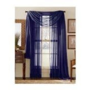 MONAGIFTS NAVY BLUE colour Voile Window Panel Solid sheer valance curtains 240cm / 240cm LONG