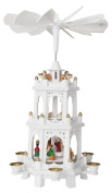 Christmas Pyramid 46cm White Wood Nativity Play - 3 Tier Carousel with 6 Candle Holders - Brubaker Design From Germany