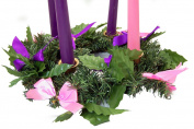 Silk Ribbon Advent Wreath Candle Holder Christmas Season Centrepiece Decoration