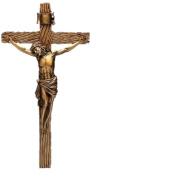 Wood Inspired Bronze Wall Cross Crucifix Jesus Christ 62153