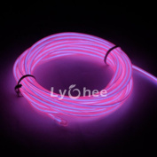 Lychee Neon Glowing Strobing Electroluminescent Light El Wire w/ Battery Pack for Parties, Halloween Decoration