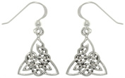 CGC Sterling Silver Celtic Triangle Trinity Knot Dangle Earrings
