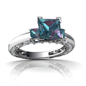 14kt Gold Lab Alexandrite and Diamond 3mm Square Art Deco Ring