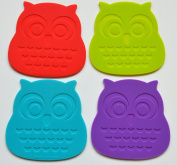 Set of 4 . and Cool Owl Coasters. Buy Our Silicone Coasters That Protect Your Tabletop Surfaces. These Highest Quality, Unique Cup Mat Drink Placemat Can Be a Nice Decoration to Your Home or As a Gift