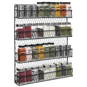 4 Tier Black Country Rustic Chicken Wire Pantry, Cabinet or Wall Mounted Spice Rack Storage Organiser