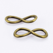 LolliBeads (TM) Antiqued Brass Bronze One Direction Infinity Wish Symbol Charms Adjustable Rope Bracelet Connector Link