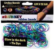 Rubbzy Glow in the Dark Green Blue Purple Pink Tie Dye 100 Loose Rubber Bands